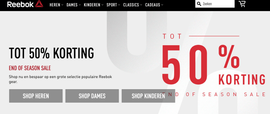 End of Season: 50% discount op Reebok (Les Mills) kleding!